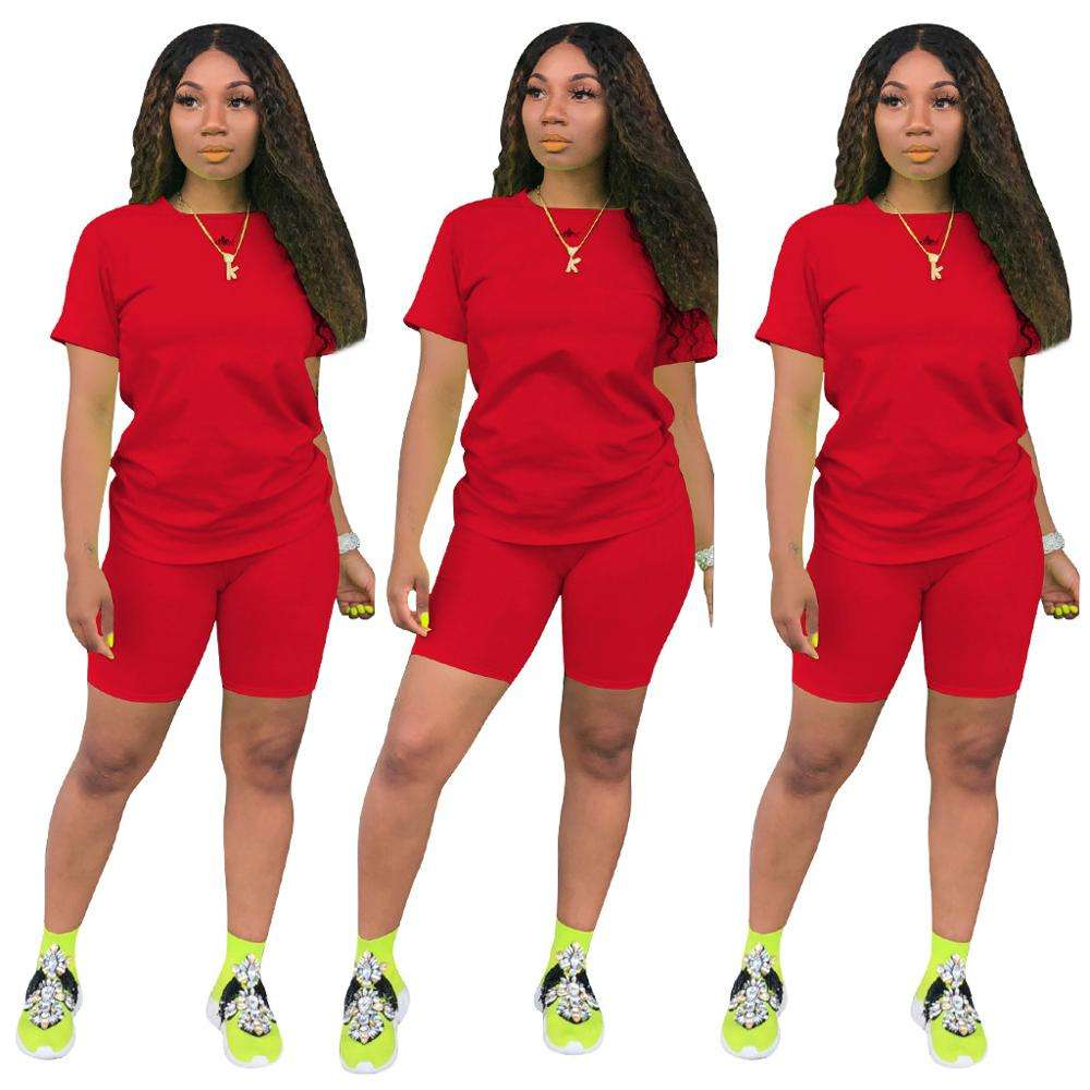 2020 hot plus size women sport two pcs short set track suit biker short sets