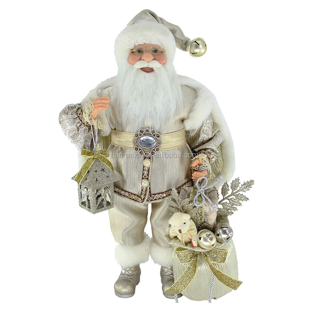 40cm golden standing santa claus decoration wearing mantle with gift bag and tiny house holiday luxury figure 2020 new arrival