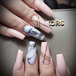 Senboma impress false nails marble nails long press on nails