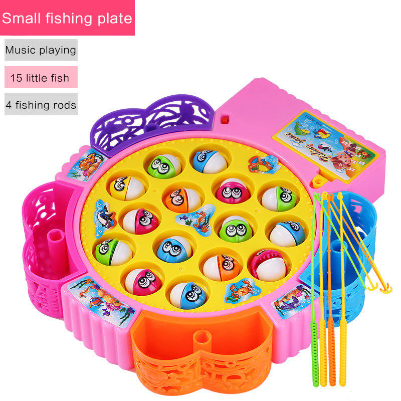 Customizable Baby Gift Kids Plastic Games Electric 15 Fishes Fishing Toy with Music Fishing Game for kids
