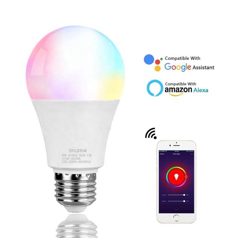 Беспроводной управление 9 Вт e26 A60/A19 затемнения умная лампа rgb oem производство с CE перечислены