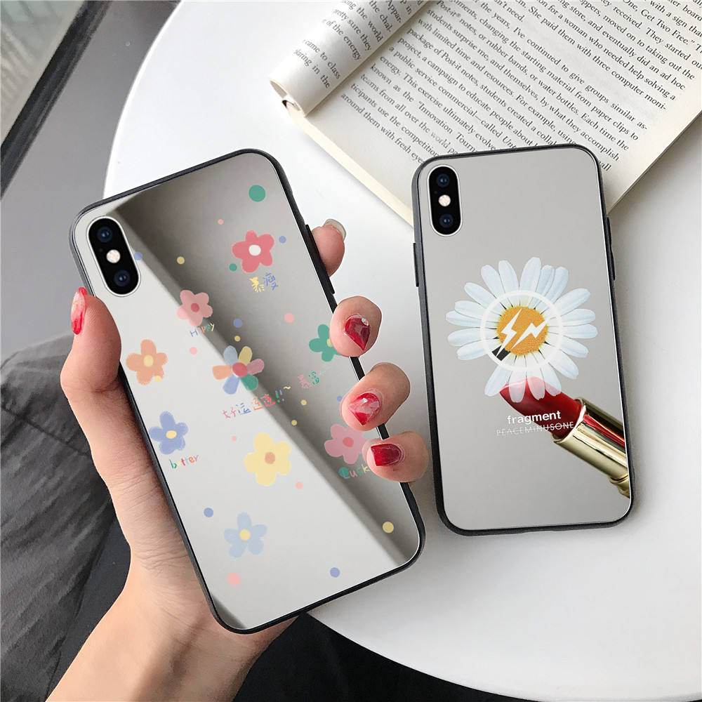 Laudtec Mirrored Phone Case For iPhone 11 Glass Back Cover For iPhone 12 Pro Max Fashion Flower Phone Case With Mirror
