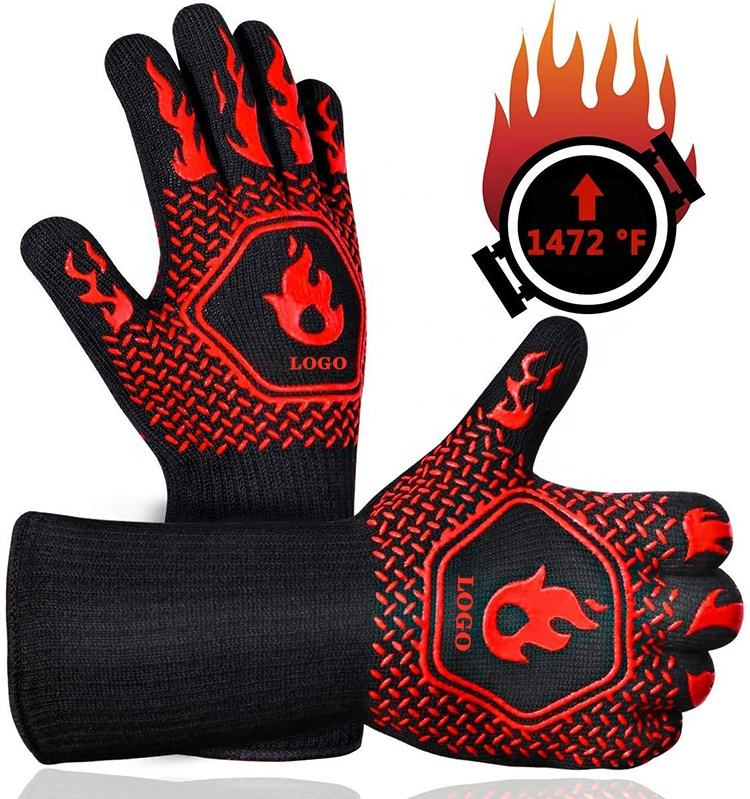 FBA Custom Logo Black Aramid Barbeque Oven Mitts OEM For Kitchen Cooking 932F Extreme Heat Resistant BBQ Grill Gloves
