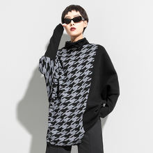 Black-gray color matching plover sweater for new women's sweaters in autumn and winter in Europe and America
