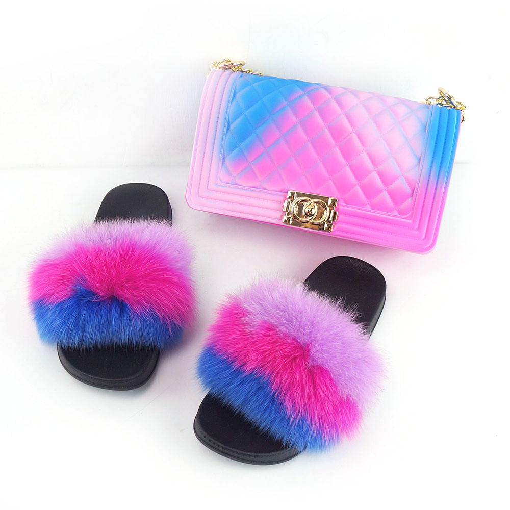 2020 hot selling colorful rainbow handbags jelly bags with matched fur slides for women