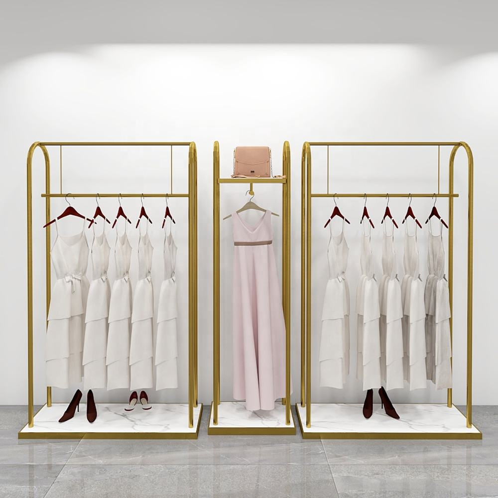 One Set Free Standing Stainless Steel Retail Gold Shiny Led Light Hanging Clothes Garment Display Rack with Wheels
