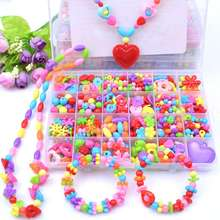 Children DIY Bead Set Assorted Acrylic Bead Kit Jewelry Necklace Bracelet Children Craft Set Craft Beads Jewelry Making
