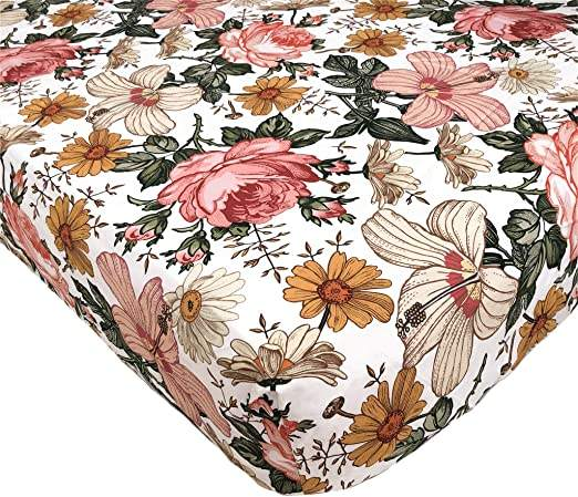 Vintage Floral Cotton Baby Stretchy Cot Sheet Newborn Baby Fitted Bed Crib Sheet