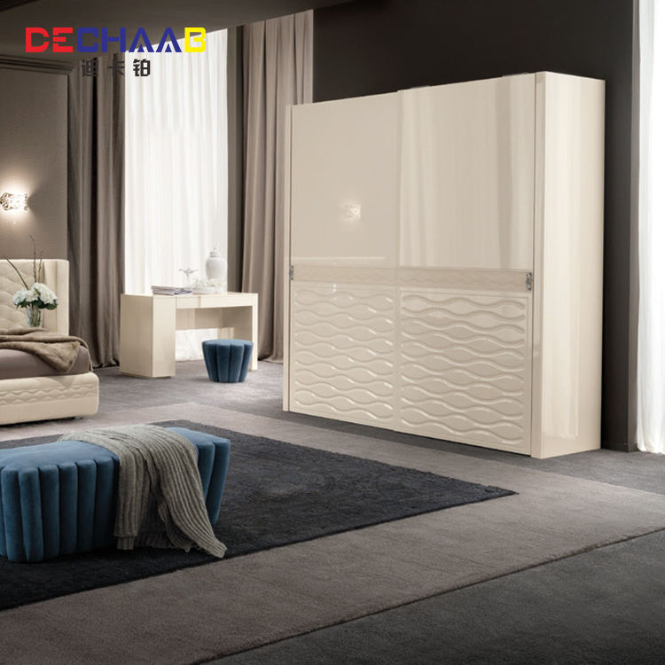 White bedroom furniture simple design wooden wardrobe closet 2 doors