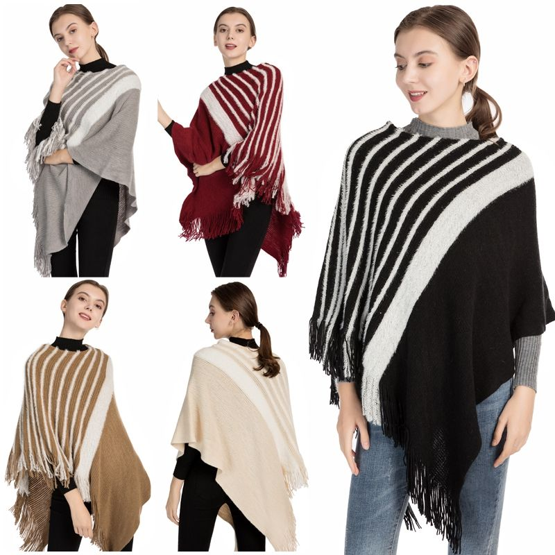 Plain Knitted stripe bat sleeve Sweater Women Long Sleeve Tops shawl Western Bohemian Mexican knit ponchos Autumn cape