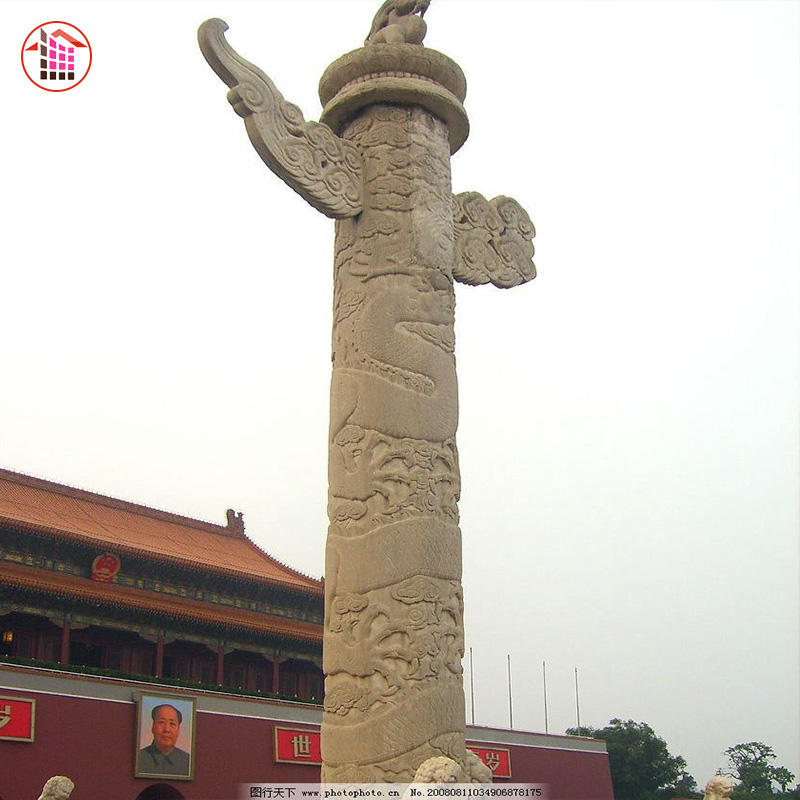 Stone Column Capital Carved Chinese Dragon Column Nautral Stone Column Capital