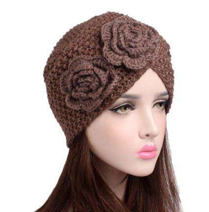 Muslim Winter Hat Warm Rose Flower Knit Cap Beanie Sleep Chemo Turban Headwear Cancer Patients