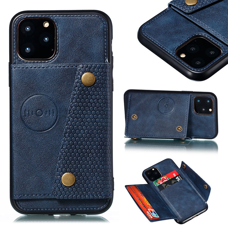 2019 new arrival 3 in 1 aluminum car suction function bracket 4 card holder wallet mobile phone cases