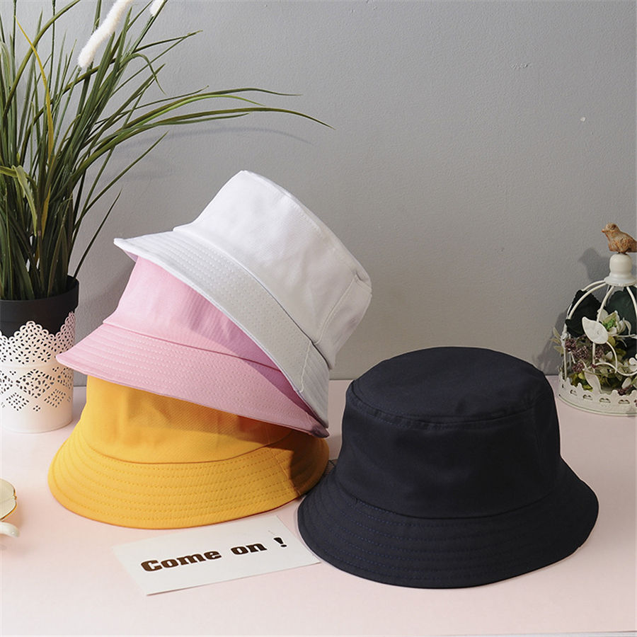 Sunbonnet Fedoras Outdoor Fisherman Hat Beach New Unisex Cotton Bucket Hats Women Summer Sunscreen Panama Hat Men Pure Color