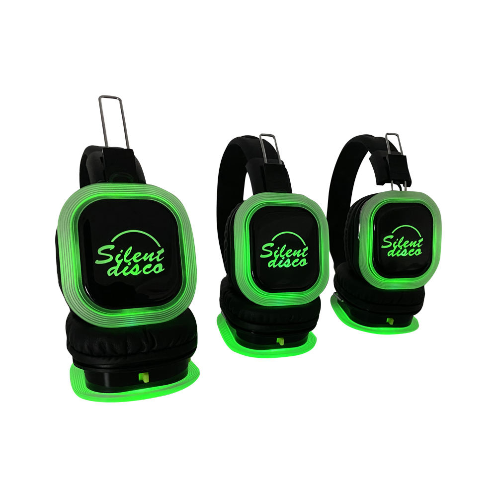 F39 Tenang Klub Pesta dan Acara 2 atau 3 Channel Foldable Nirkabel Led Silent Disco Headphone dan Pemancar