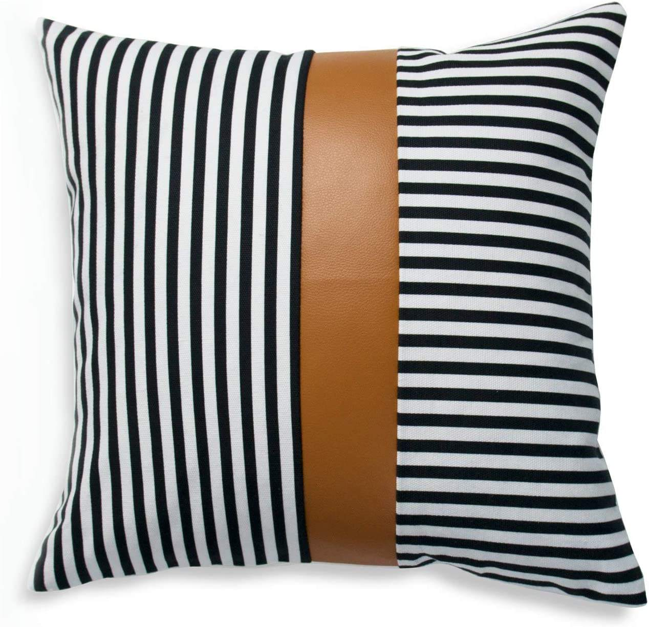 Faux Leather and 100% Cotton Pillow Cover ONLY, Camel Black Modern Design Stripes Cushion Cover for Home Decor