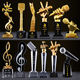 Cheap Wholesale Metal Glass Microphone Awards Crystal Music Trophy For Music Events