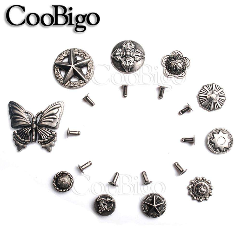 100sets/Pack Pewter Studs Rivet Spikes Punk Rock Leather Craft Garment Shoe Bag Pets Collar Parts butterfly Star Shield #GZ092
