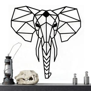IVYDECO Creative DIY Home Living Room Decoration Laser Cut Sofa Background Geometric Elephant Head Metal Wall Decor