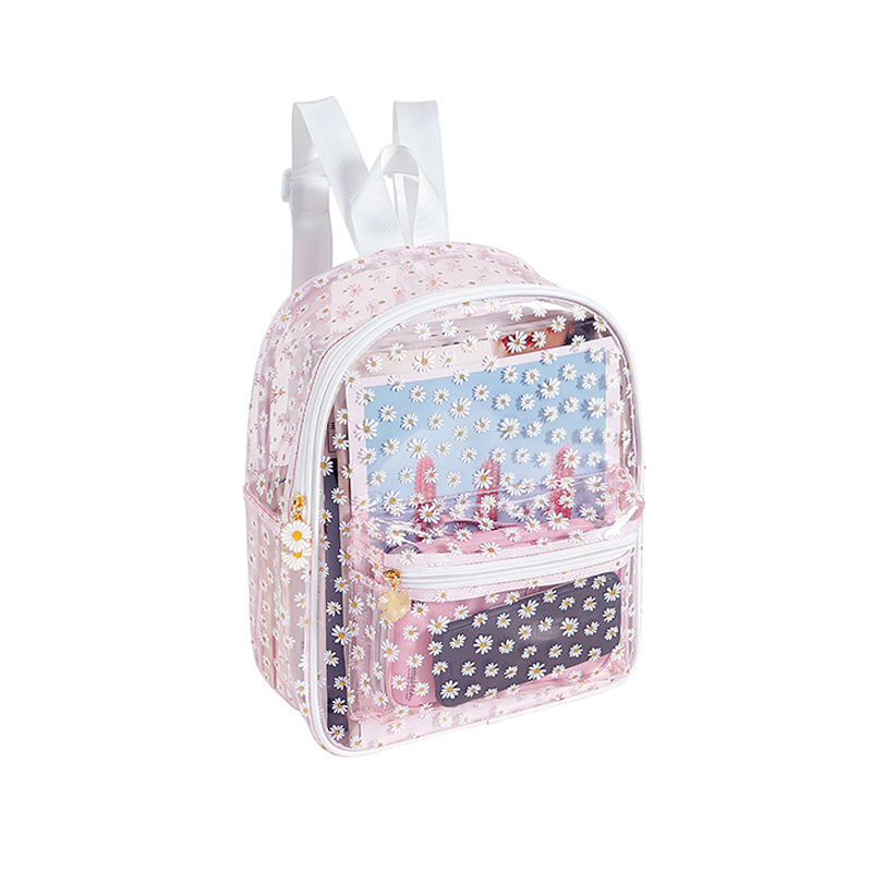 daisy flower printing waterproof transparent backpack for girls sac a dos rucksack kids bagpack clear pvc school bags