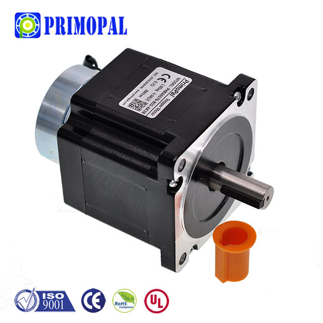 Nema34 1.8degree 4wire 5.6 2.8 4A 2phase 114mm length 820 580N.cm holding torque brake stepper motor shaft options single D-cut