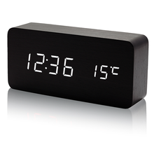 2020 Voice Control USB Charge Time Date Temperature LED Display Digital Table Wooden Alarm Clock