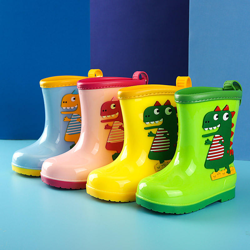 High quality boys and girls kids rain boots cartoon dinosaur patterns rain boots for kids