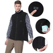 Autumn Winter Smart Men Fleece Heated Vest With 5V USB Power Bank Rechargeable