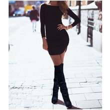 2019 Female Clothing Ciassic Pure Black Long Sleeve Ladylike Dress Bodycon Midi Dresses