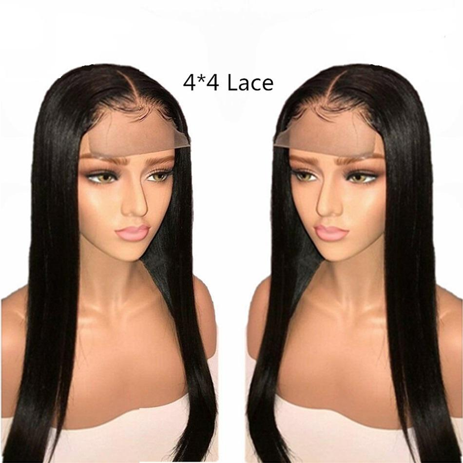 150% 180% 200% Wholesale 4x4 Lace Closure Wig Vendors 100%Aligned Cuticle Wig 4x4 Closure Natural Straight Human Hair Wigs