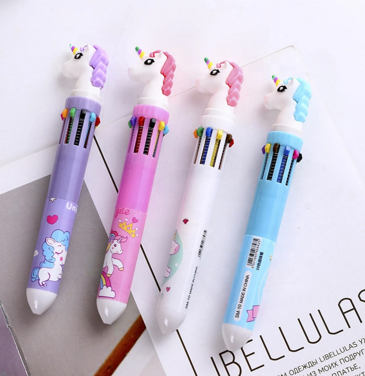 Kawaii multicolor ball point pen 10 colors in 1 with unicorn cartoon silicone top 0.5 mm