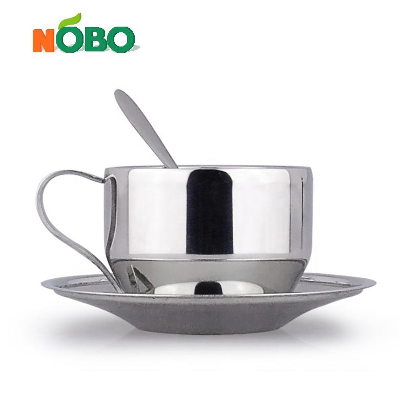 Promotion daily use water coffee tea cup set stainless steel cups and saucers with spoon