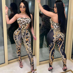 Ladies Leopard Chain Print Tights Strapless Bodysuit And Pants Set