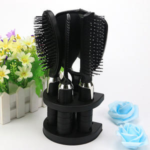 Newest Black Hair Comb Set Women Ladies Hair Brush Massage Comb With Mirror Holder Set
