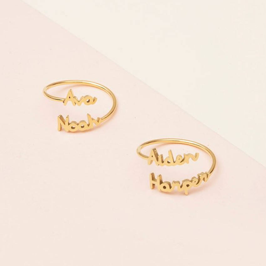 Adjustable Double Name Rings Personalized Jewelry Stainless Steel Custom Two Names Gold Ring