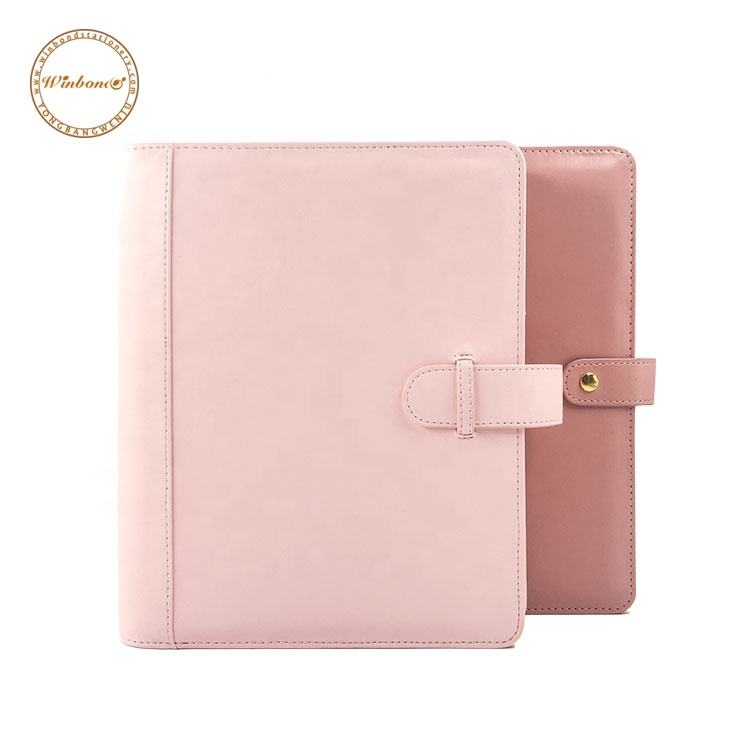 Quilted style leather ring binder pink A5 planner cover