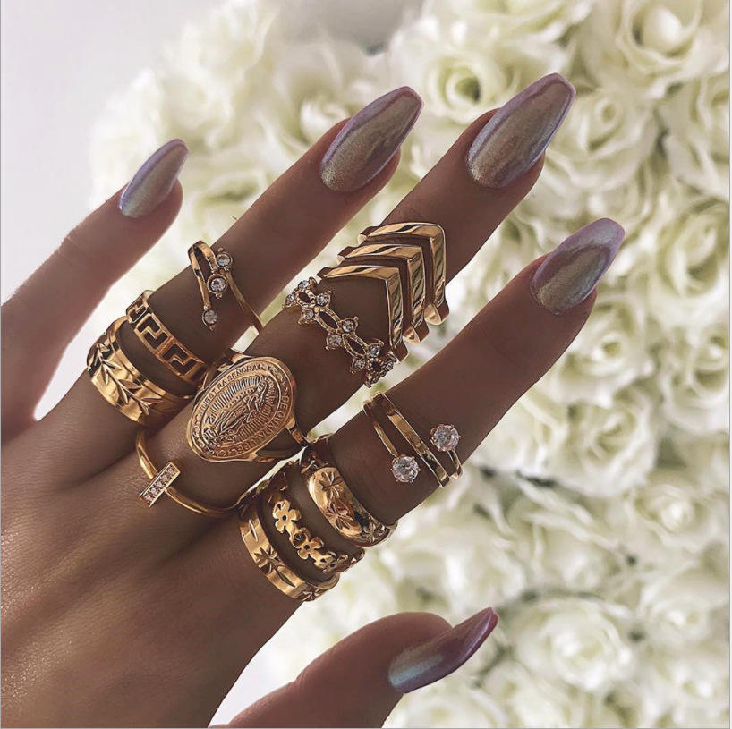 Wholesale and retail European and American English Madonna diamond simple decorative pattern joint ring leaves 13 rings