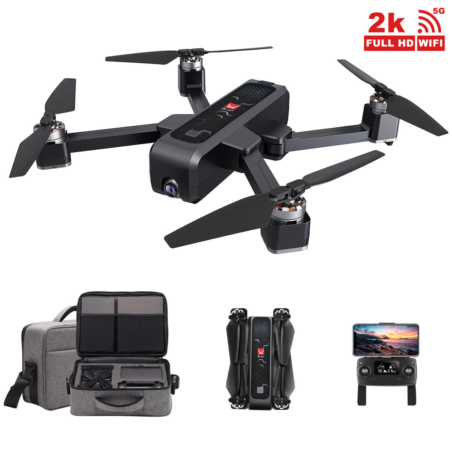 Bugs 4W GPS RC Drone with 2K camera 5G WiFi FPV Optical Flow Positioning B4W Foldable Quadcopter Follow Me