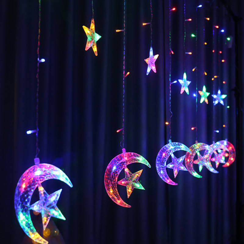 Fairy Ramadan Light Window Led Curtain Star Moon String Light For Room Festival Christmas Decoration