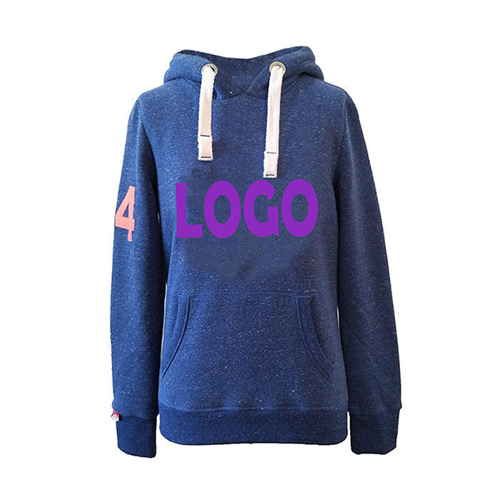 OEM Anti-pilling Eco friendly Logo Printing Breathable Blue Ladies Snowheather Fleece Top Pullover Cropped Women Hoodies