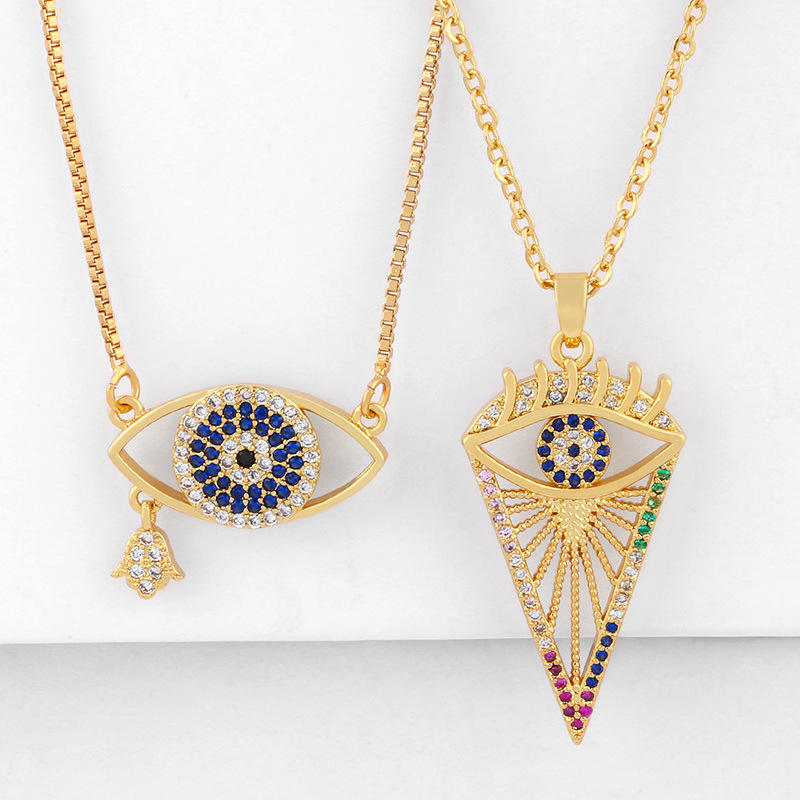 Personalized 18k gold plating geometric Turkey jewelry rainbow colorful zircon evil eyes choker necklaces