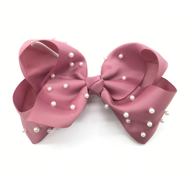 Wholesale Handmade Bow Knot Hair Clip Jojo Over Size Ribbon Pearls Hair Clips For Girls