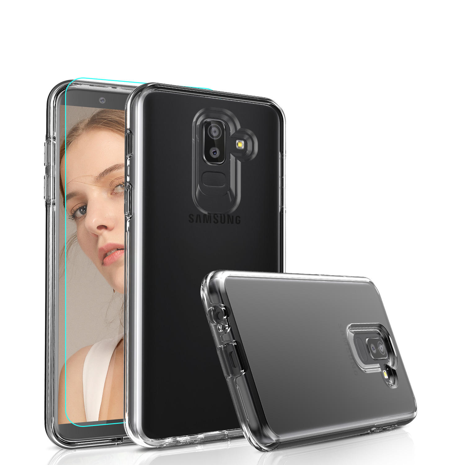 LeYi For Samsung Galaxy J8 Case With HD Screen Protector, Fundas Para Celulares 2 in 1 TPU + PC Double Layer Phone Case