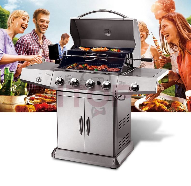 NEW! Induction BBQ Outdoor Grill For Party Full Stainless Garden Bbq Gas Grill Party BBQ machine with Trolley
