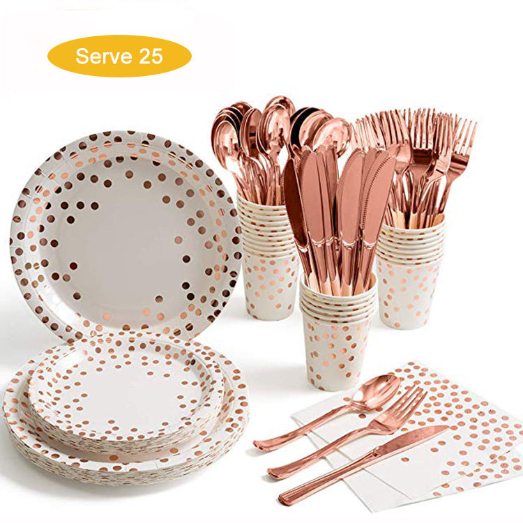 Rose gold Birthday disposable custom paper plates cups and napkins set for wedding party birthday