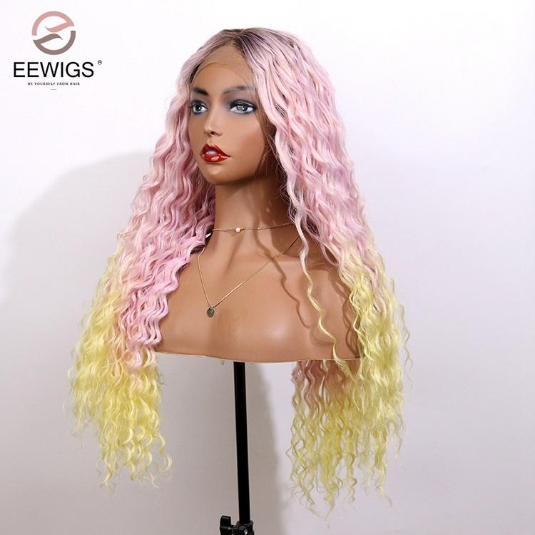 Synthetic Lace Front Wig Long Curly Hair Light Pink and Yellow Ombre Colorful Straight Wig Cosplay Halloween Costume Wig
