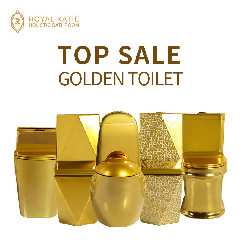 chaozhou factory golden high quality Bathroom wc one piece washdown Ceramic gold plated toilet bowl
