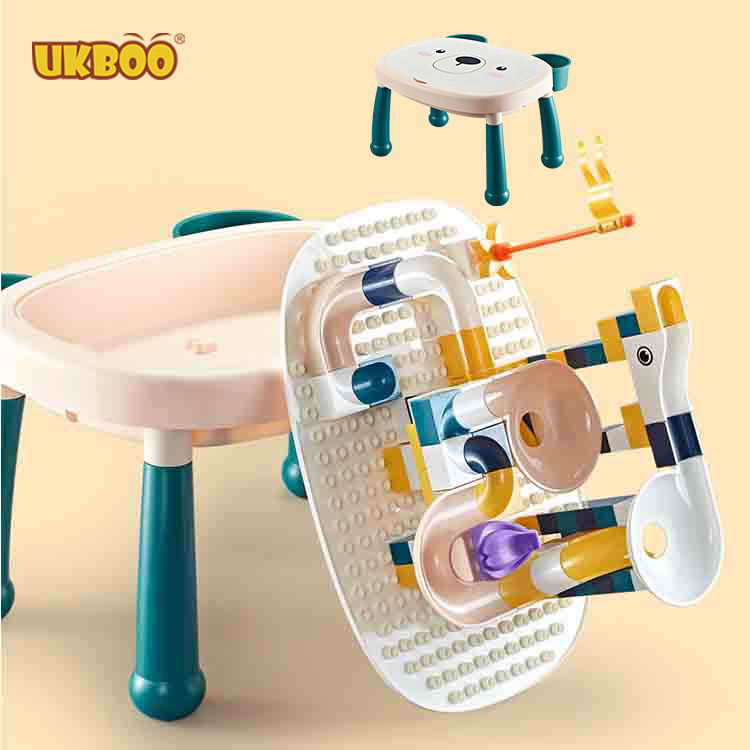 UKBOO Price and Quantity Baby Bear Play n Study Big Blocks Baseplate Storage Activity Building Block Table with Chair