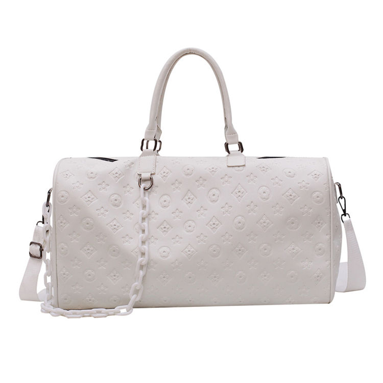 white new design fashion custom printed large ladies leather duffle travel bag