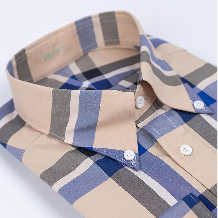 Casual Clothing Men Dress Shirts Casual Brown Long Sleeve MTM Free Shipping